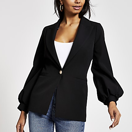 Black balloon sleeve blazer