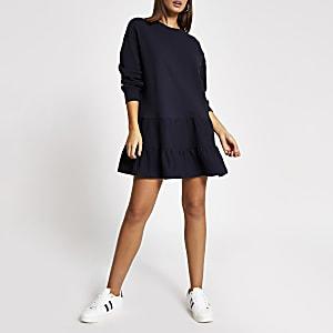 Gesmoktes Sweatshirt-Kleid in Marineblau mit langen Ärmeln