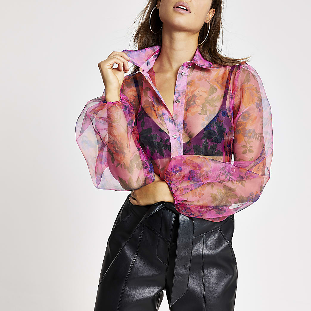 Pink floral balloon sleeve organza shirt