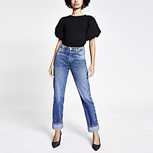 Blauwe rechte super high rise jeans