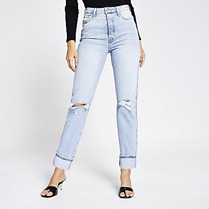 Light blue rip super high rise straight jeans