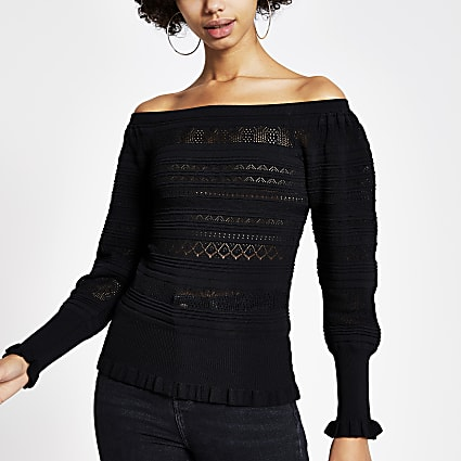 Black pretty knitted stitch bardot top