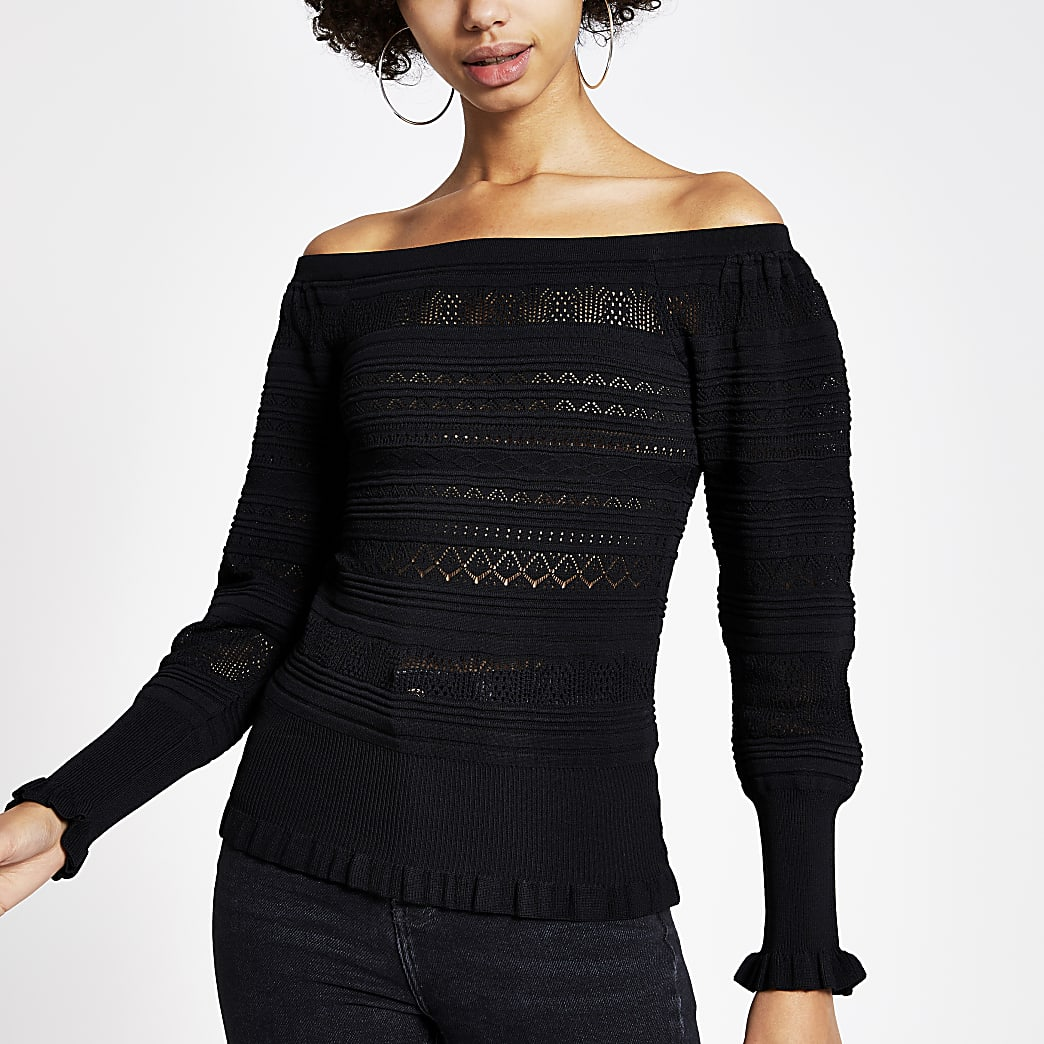 Black pretty knitted stitch bardot top