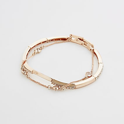 Gold diamante layered cuff bracelet