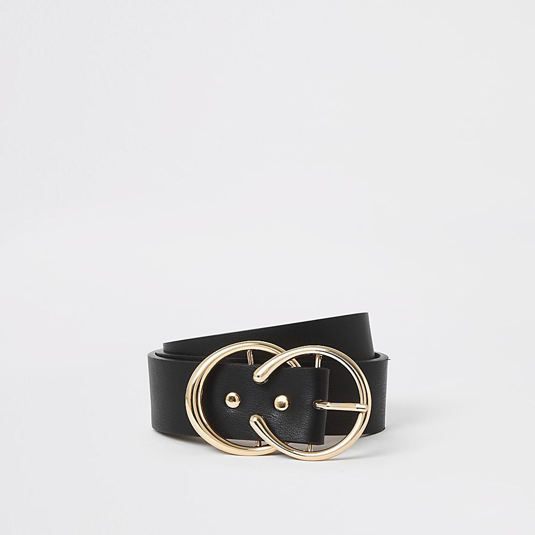 Black double ring boxed belt