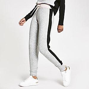 Hellgraue Loungewear-Jogginghosen in Blockfarben