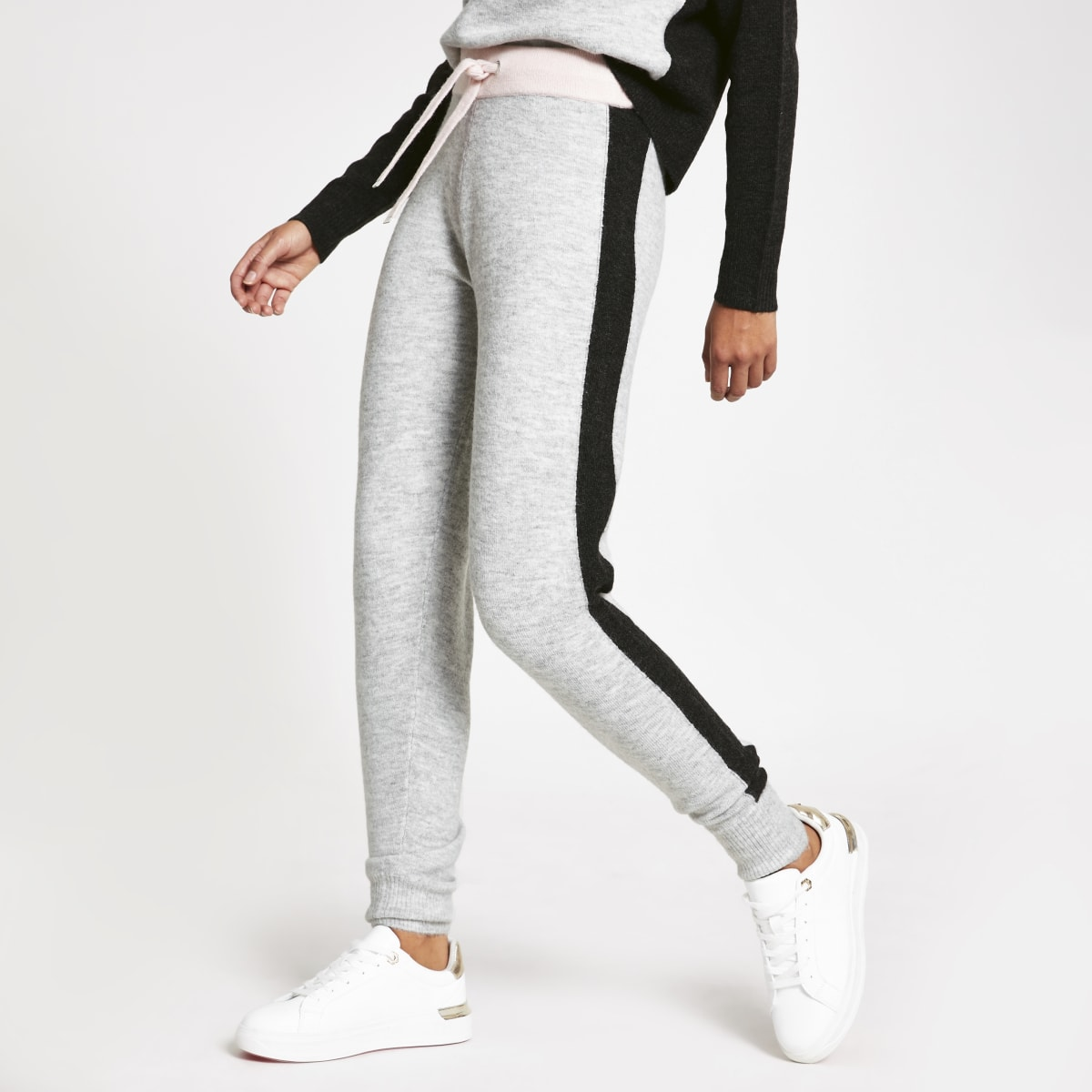 Light grey colour block loungewear joggers