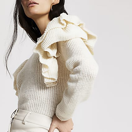 Cream frill long sleeve knitted jumper