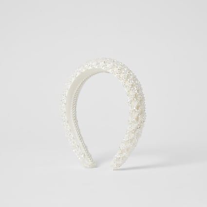 White beaded padded headband