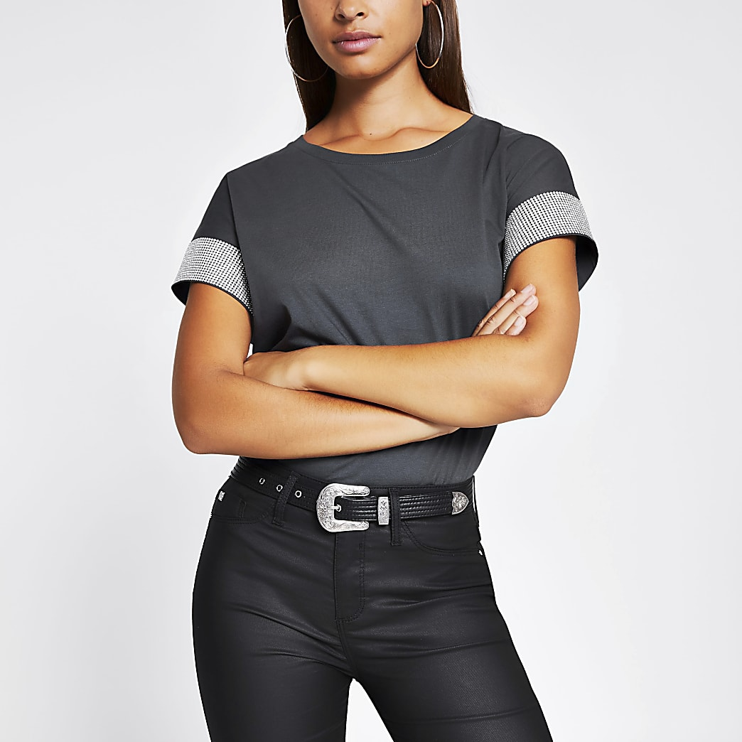 Grey diamante embellished sleeve T-shirt
