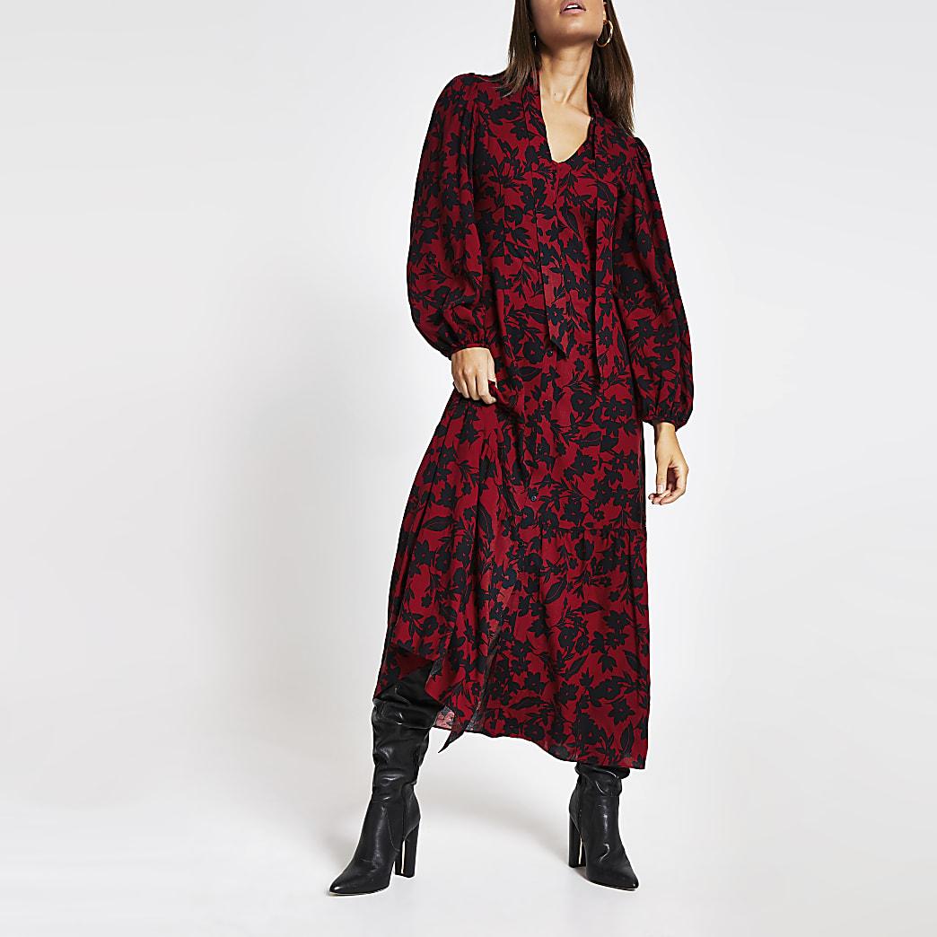 Rode midi-jurk met V-hals, stropdas en bloemenprint