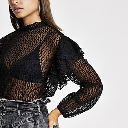 Black lace long sleeve frill top