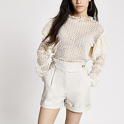 Cream lace long sleeve frill shoulder top
