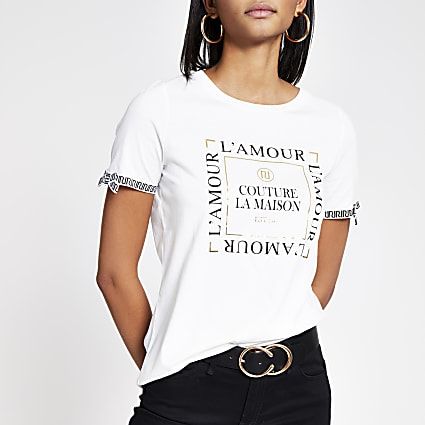 White printed bow sleeve T-shirt