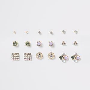 Multipack met roze oorknopjes met pastelkleurige steentjes