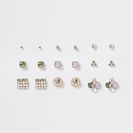 Pink pastel gem stud earrings mulitpack