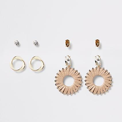 Beige raffia diamante earrings 4 pack