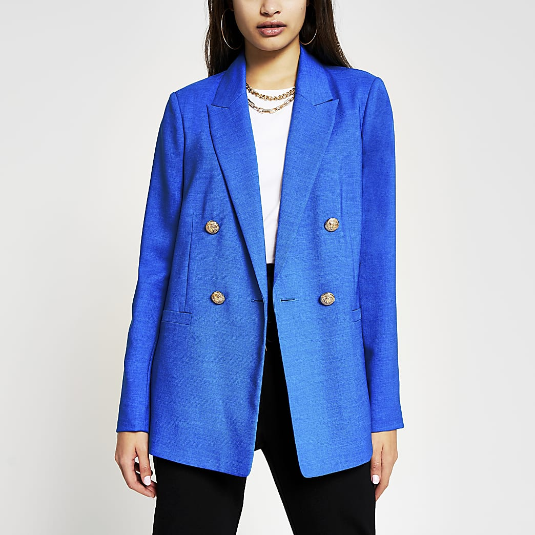 Blauwe double breasted blazer
