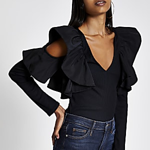 Black frill V neck cold shoulder ribbed top