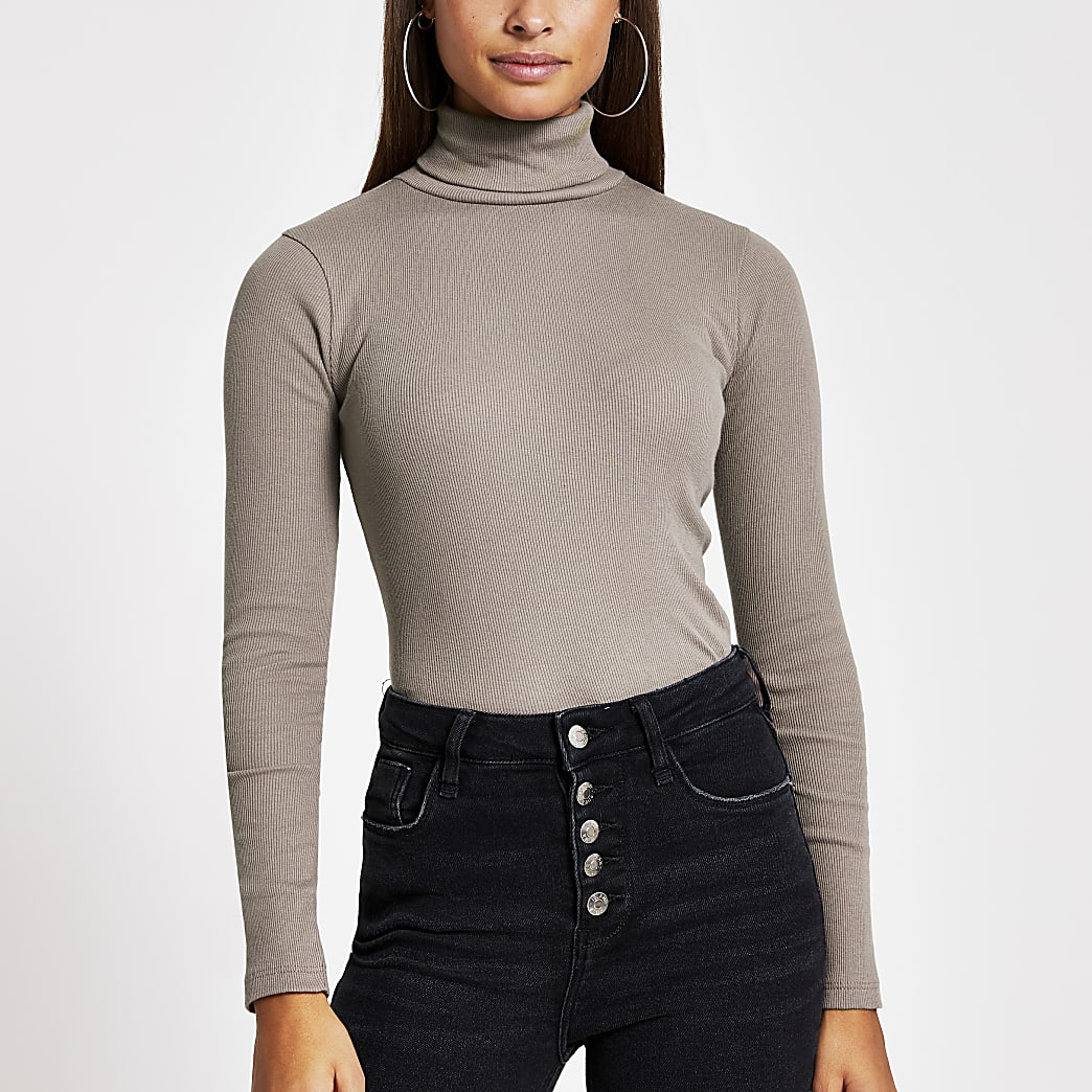 Brown long sleeve roll neck ribbed top