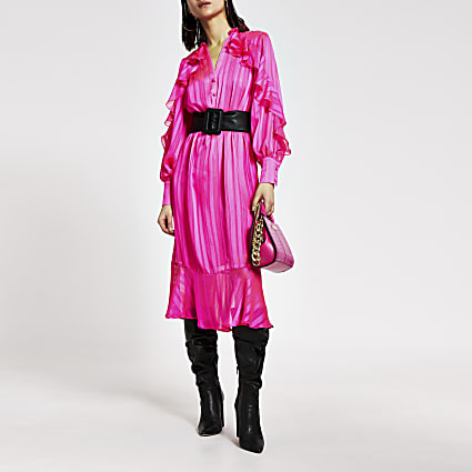 Bright pink ruffle tie belted midi dress