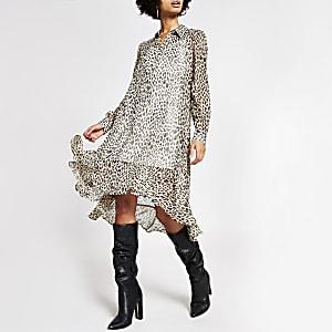 Midi-Swing-Kleid in Beige mit Animal-Print