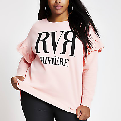 Plus light pink RVR frill sweatshirt