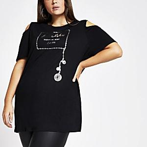 Plus – Schwarzes T-Shirt mit Print und Schulterausschnitten