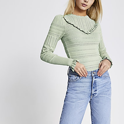 Green frill pretty stitch knitted top