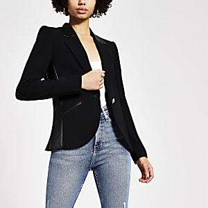 Zwarte aansluitende PU blazer met kleurvlakken