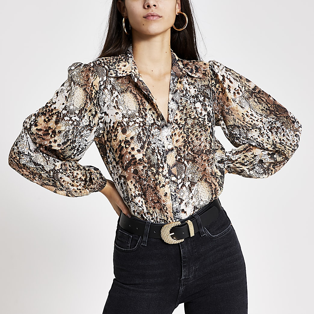 Brown printed balloon sleeve sheer shirt