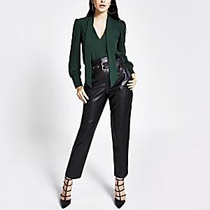 Green tie neck long sleeve blouse