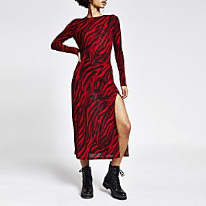 Robe trapèze mi-longue rouge imprimée à manches longues