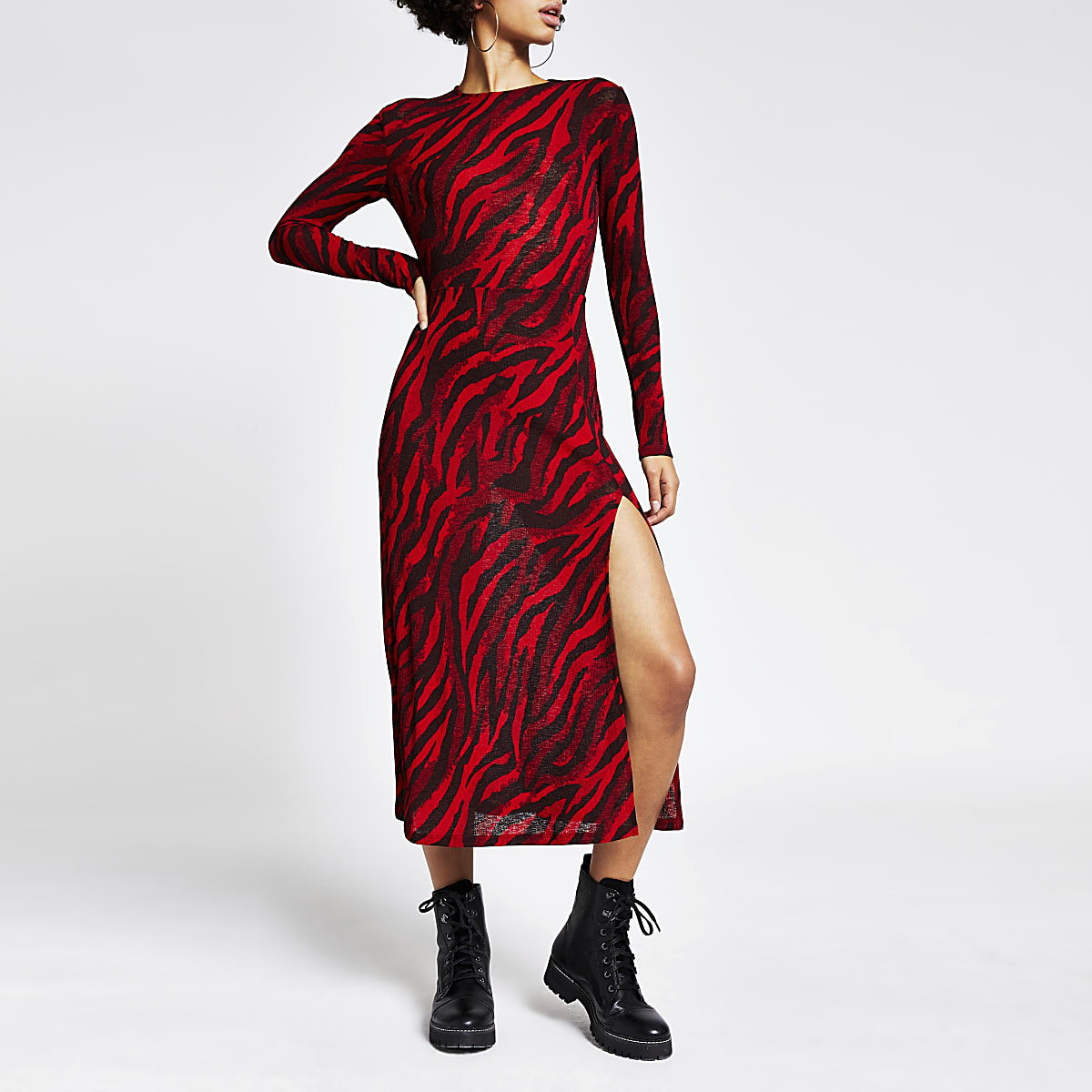Red printed long sleeve A line midi dress