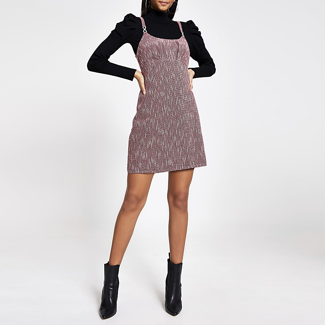 Red boucle A line pinafore dress
