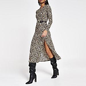 Beige A-lijn midi-jurk met luipaardprint