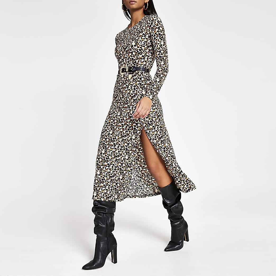 Beige leopard print A line midi dress