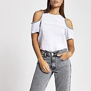T-shirt gris imprimé à épaules dénudées ornées