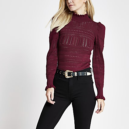 Petite red puff sleeve pointelle knitted top