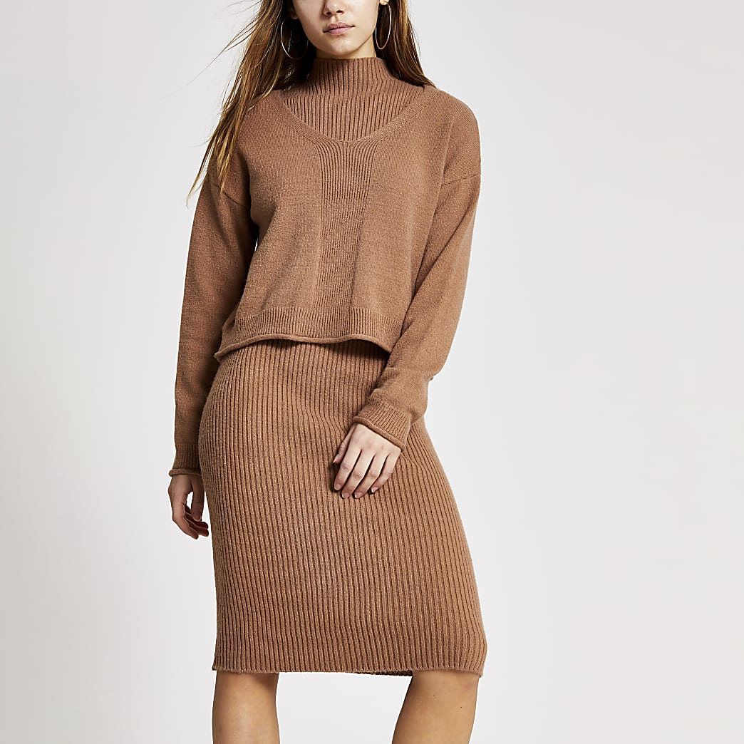 Petite dark brown layered dress