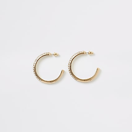Gold colour diamante embellish hoop earrings