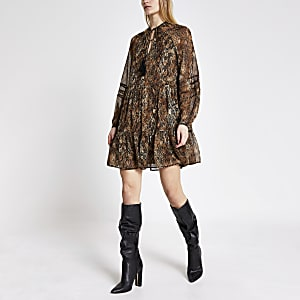 Black printed long sleeve mini smock dress