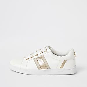 Witte wide fit sneakers met metallic strepen