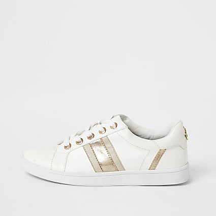 White metallic stripe lace-up trainers