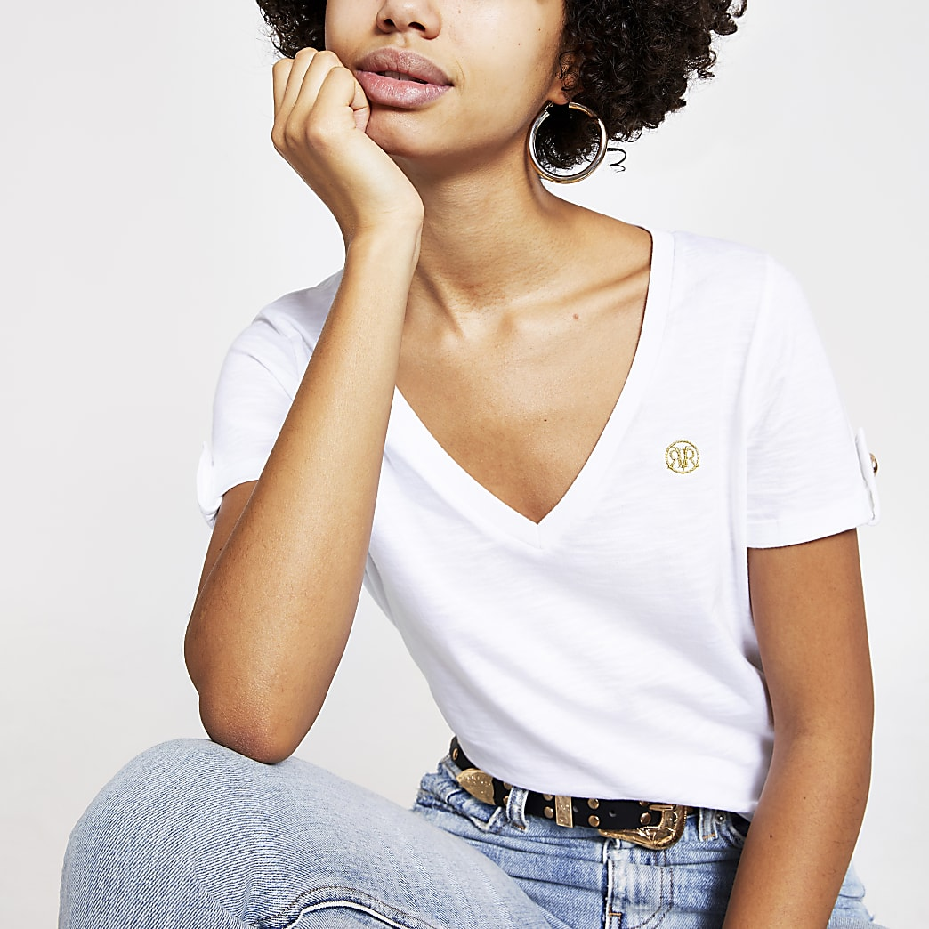 White V neck turn-up short sleeve T-shirt