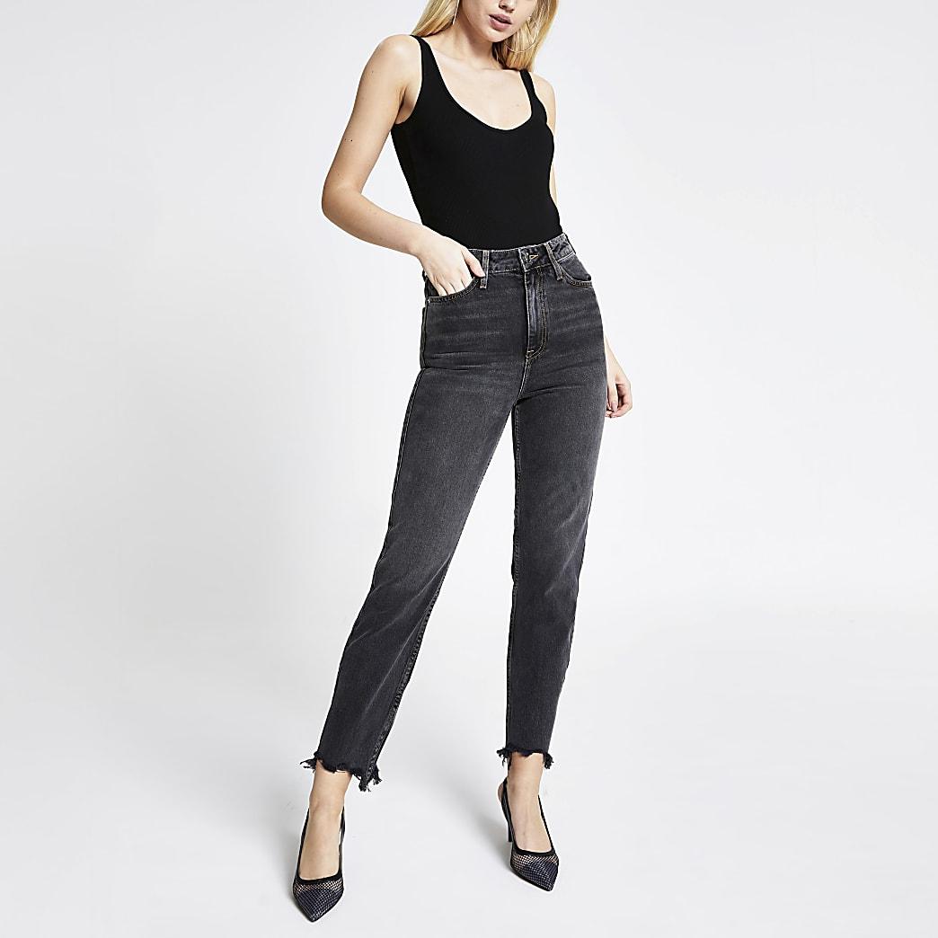 Schwarze Carrie Mom-Jeans mit hohem Bund und Waschung