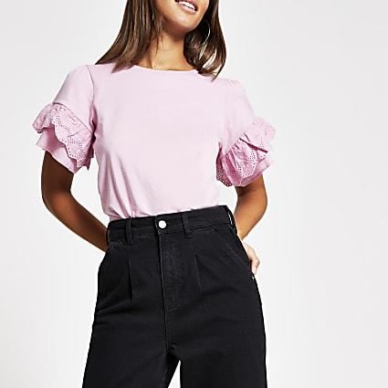 Pink broderie frill flute sleeve T-shirt