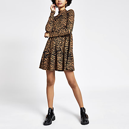 Beige animal printed mini smock dress