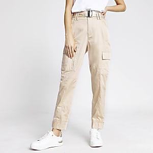 Beige utility broek met smalle pijpen en hoge taille
