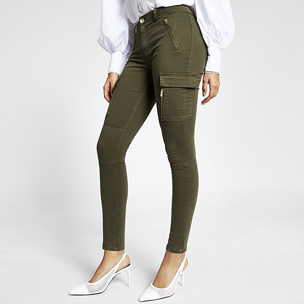 Khaki utility zip front skinny trousers